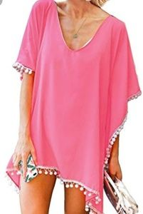 Pink Bally pom-pom bathing suit cover-up swim